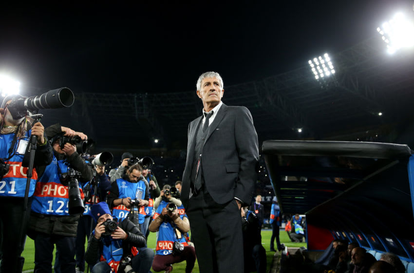 NAPLES, ITALY - FEBRUARY 25:Quique Setien the coach of Barcelona looks on as he is surrounded by photographers ahead of the UEFA Champions League round of 16 first leg match between SSC Napoli and FC Barcelona at Stadio San Paolo on February 25, 2020 in Naples, Italy. (Photo by Michael Steele/Getty Images)