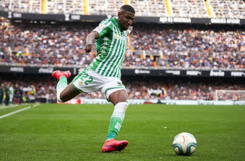 VALENCIA, SPAIN - FEBRUARY 29: Emerson Royal of Real Betis in action during the Liga match between Valencia CF and Real Betis Balompie at Estadio Mestalla on February 29, 2020 in Valencia, Spain. (Photo by Manuel Queimadelos/Quality Sport Images/Getty Images)