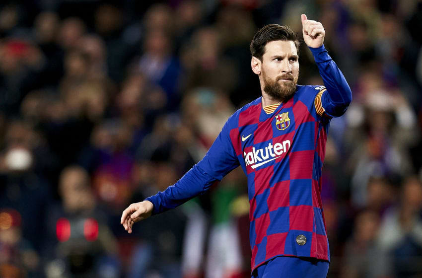 BARCELONA, SPAIN - MARCH 07: Lionel Messi of FC Barcelona celebrates his team's first goal during the Liga match between FC Barcelona and Real Sociedad at Camp Nou on March 07, 2020 in Barcelona, Spain. (Photo by Pedro Salado/Quality Sport Images/Getty Images)