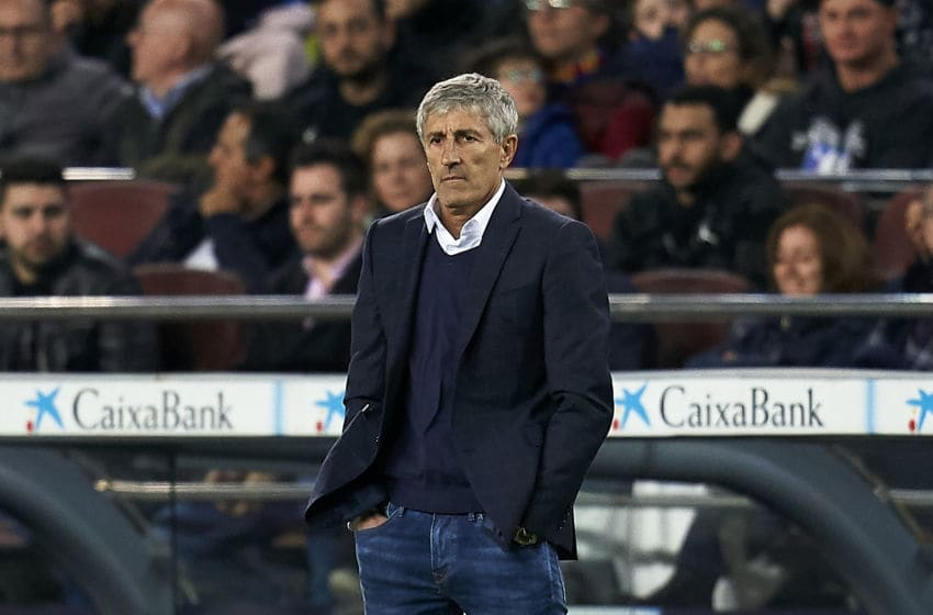 BARCELONA, SPAIN - MARCH 07: Quique Setien, head coach of FC Barcelona during the Liga match between FC Barcelona and Real Sociedad at Camp Nou on March 07, 2020 in Barcelona, Spain. (Photo by Pedro Salado/Quality Sport Images/Getty Images)
