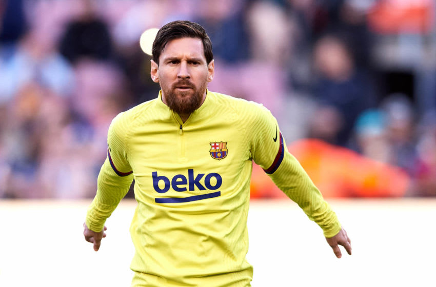 BARCELONA, SPAIN - MARCH 07: Lionel Messi of FC Barcelona warms up prior to the Liga match between FC Barcelona and Real Sociedad at Camp Nou on March 07, 2020 in Barcelona, Spain. (Photo by Alex Caparros/Getty Images)