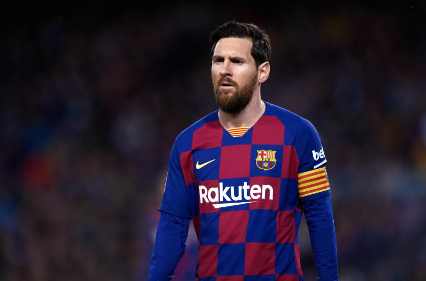 : Lionel Messi of FC Barcelona . (Photo by Alex Caparros/Getty Images)