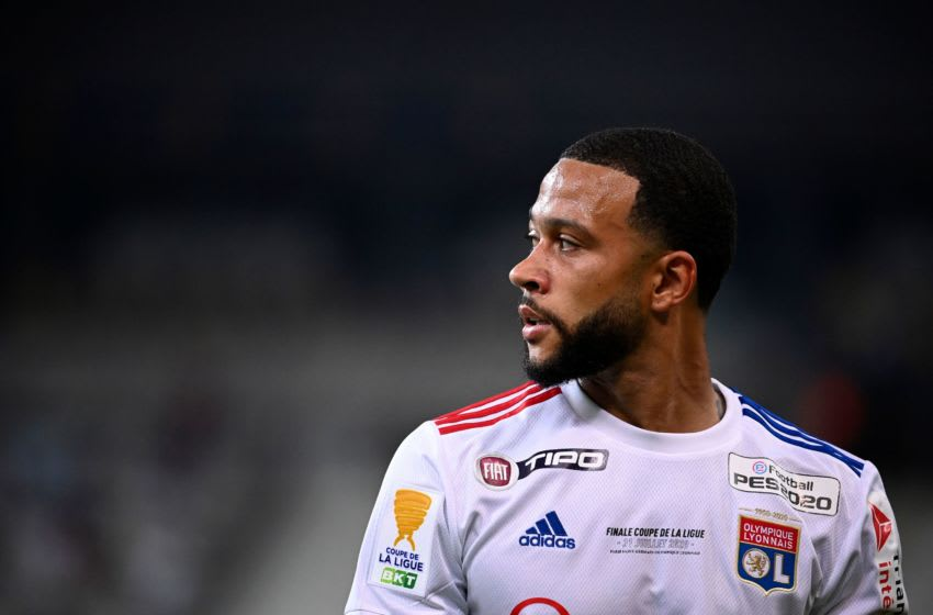 Lyon's Dutch forward Memphis Depay looks on during the French League Cup final football match between Paris Saint-Germain vs Olympique Lyonnais at the Stade de France in Saint-Denis on July 31, 2020. (Photo by FRANCK FIFE / AFP) (Photo by FRANCK FIFE/AFP via Getty Images)