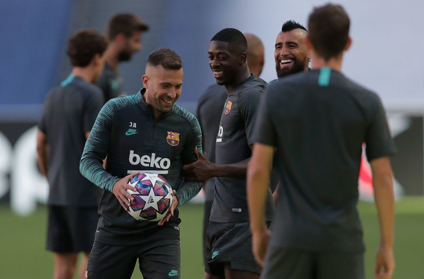 Ousmane Dembele with Barcelona teammates. (Photo by Manu Fernandez / POOL / AFP) (Photo by MANU FERNANDEZ/POOL/AFP via Getty Images)