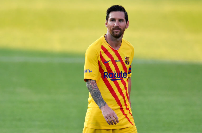 Barcelona's Argentinian forward Lionel Messi smiles during a friendly football match for FC Barcelona.(Photo by Pau BARRENA / AFP via Getty Images)
