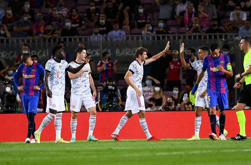 Bayern Munichâs forward Thomas Muller (4th R) celebrates his goal. (Photo by Adria Puig/Anadolu Agency via Getty Images)