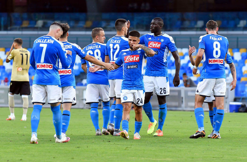 NAPLES, ITALY - JUNE 28: Players of Napoli celebrating the goal of Dries Mertens of Napoli, (L-R) Jose Callejon of Napoli, Dries Mertens of Napoli, Stanislav Lobotka of Napoli, Eljif Elmas of Napoli, Lorenzo Insigne of Napoli, Kalidou Koulibaly of Napoli, and Fabian of Napoli during the Serie A league match between SSC Napoli and SPAL at Stadio San Paolo on June 28, 2020 in Naples, Italy. (Photo by Ciro Santangelo/BSR Agency/Getty Images)