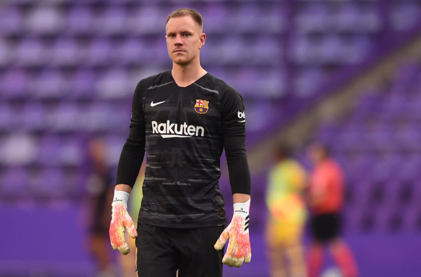 Barcelona keeper Marc-Andre ter Stegen lduring match against Real Valladolid. (Photo by Denis Doyle/Getty Images)