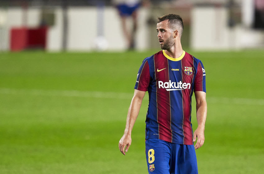 Miralem Pjanic of FC Barcelona looks on(Photo by Pedro Salado/Quality Sport Images/Getty Images)