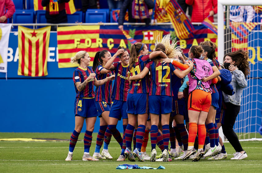 Players of FC Barcelona celebrate on full time during the UEFA Women's Champions League Semi Final. (Photo by Pedro Salado/Quality Sport Images/Getty Images)