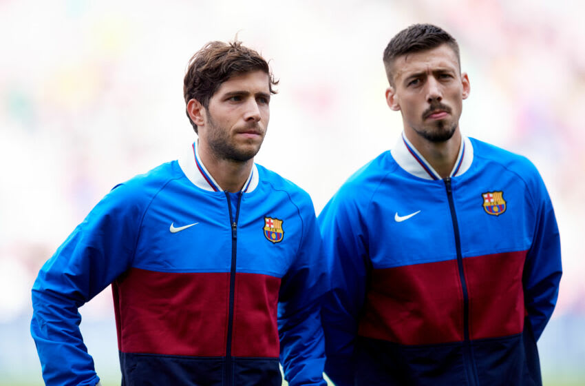Sergi Roberto and Clement Lenglet of FC Barcelona. (Photo by Alex Caparros/Getty Images)