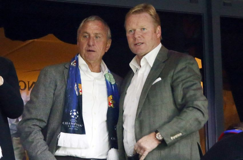 Johan Cruyff (L), Ronald Koeman (R) during the Champions League match between Ajax Amsterdam and FC Barcelona on November 26, 2013 at the Amsterdam Arena in Amsterdam, The Netherlands.(Photo by VI Images via Getty Images)