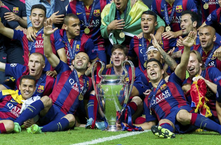 Barcelona with Champions League trophy. (Photo by VI Images via Getty Images)