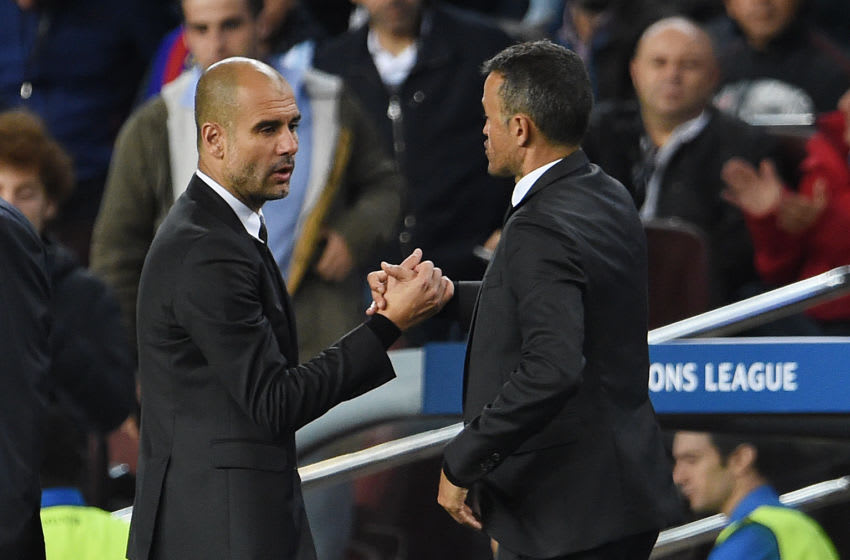 BARCELONA, SPAIN - OCTOBER 19: Manchester City coach Josep Guardiola shakes hands with FC Barcelona coach Luis Enrique after the UEFA Champions League Group C match between FC Barcelona and Manchester City FC at Camp Nou on October 19, 2016 in Barcelona, Spain. (Photo by Visionhaus/Corbis via Getty Images)