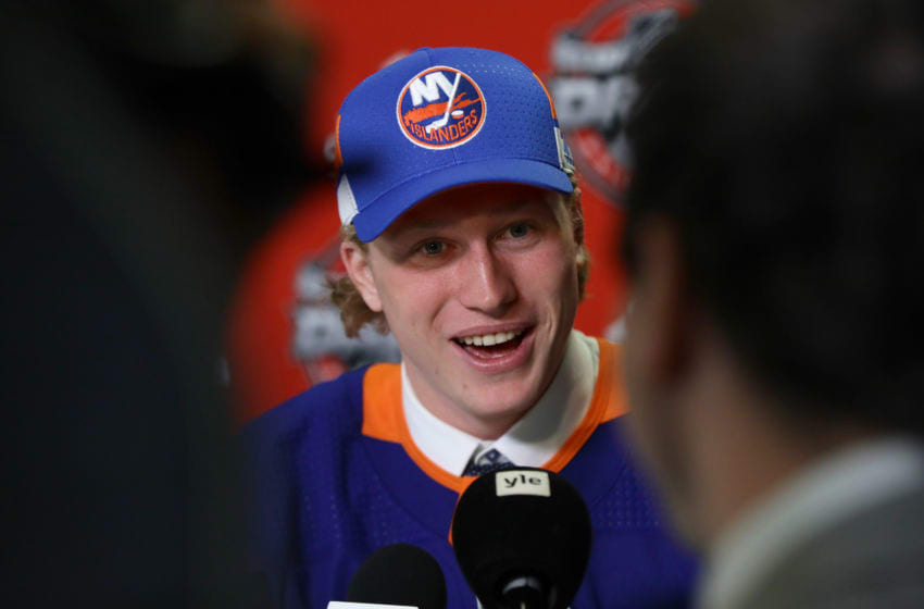Robin Salo is interviewed after being selected 46th overall by the New York Islanders (Photo by Jonathan Daniel/Getty Images)