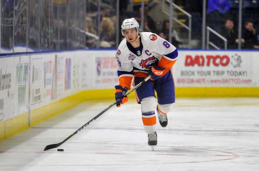 Kyle Burroughs #8 of the Bridgeport Sound Tigers (Photo by Gregory Vasil/Getty Images)