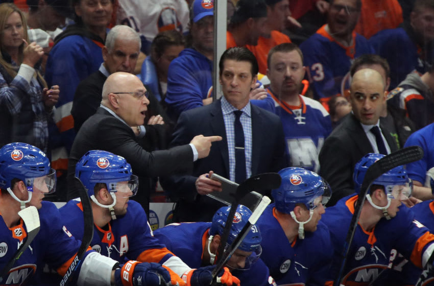 UNIONDALE, NEW YORK - APRIL 10: Head coach Barry Trotz of the New York Islanders handles bench duties against the Pittsburgh Penguins in Game One of the Eastern Conference First Round during the 2019 NHL Stanley Cup Playoffs at NYCB Live's Nassau Coliseum on April 10, 2019 in Uniondale, New York. (Photo by Bruce Bennett/Getty Images)
