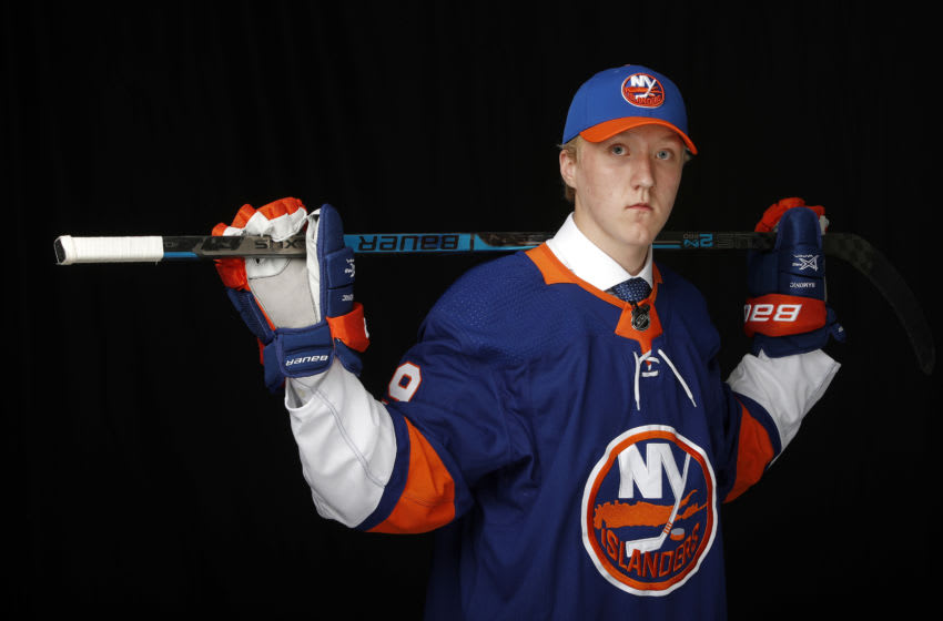 Simon Holmstrom poses for a portrait after being selected twenty-third overall by the New York Islanders during the first round of the 2019 NHL Draft at Rogers Arena on June 21, 2019 in Vancouver, Canada. (Photo by Kevin Light/Getty Images)