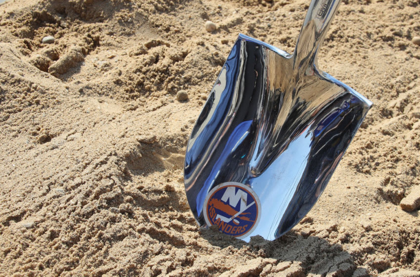 ELMONT, NEW YORK - SEPTEMBER 23: A ceremonial shovel used for the groundbreaking of the New York Islanders new hockey arena is shown at Belmont Park on September 23, 2019 in Elmont, New York. The $1.3 billion facility, which will seat 19,000 and include shops, restaurants and a hotel, is expected to be completed in time for the 2021-2022 hockey season. (Photo by Bruce Bennett/Getty Images)