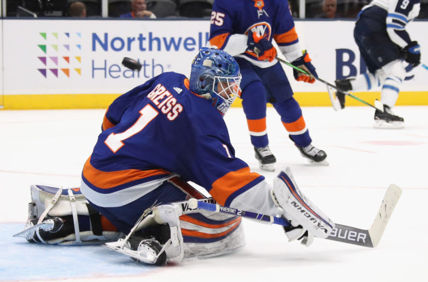 NEW YORK, NEW YORK - OCTOBER 06: Thomas Greiss #1 of the New York Islanders skates against the Winnipeg Jets at NYCB Live's Nassau Coliseum on October 06, 2019 in New York City. The Islanders defeated the Jets 4-1. (Photo by Bruce Bennett/Getty Images)