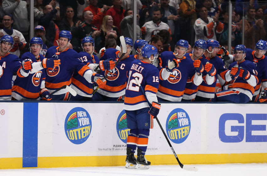 UNIONDALE, NEW YORK - OCTOBER 24: Josh Bailey #12 of the New York Islanders celebrates his second period goal against the Arizona Coyotes during their game at NYCB Live's Nassau Coliseum on October 24, 2019 in Uniondale, New York. (Photo by Al Bello/Getty Images)
