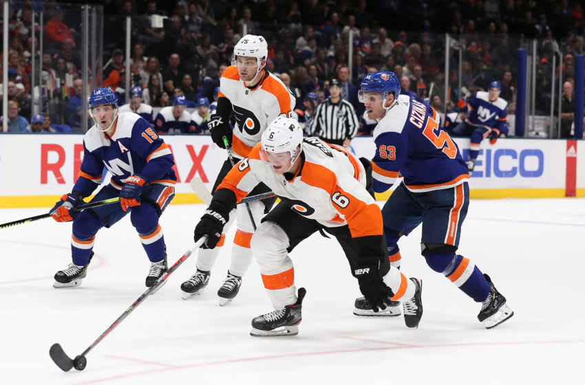 NEW YORK, NEW YORK - OCTOBER 27: Travis Sanheim #6 of the Philadelphia Flyers skates against the New York Islanders during their game at NYCB Live's Nassau Coliseum on October 27, 2019 in New York City. (Photo by Al Bello/Getty Images)