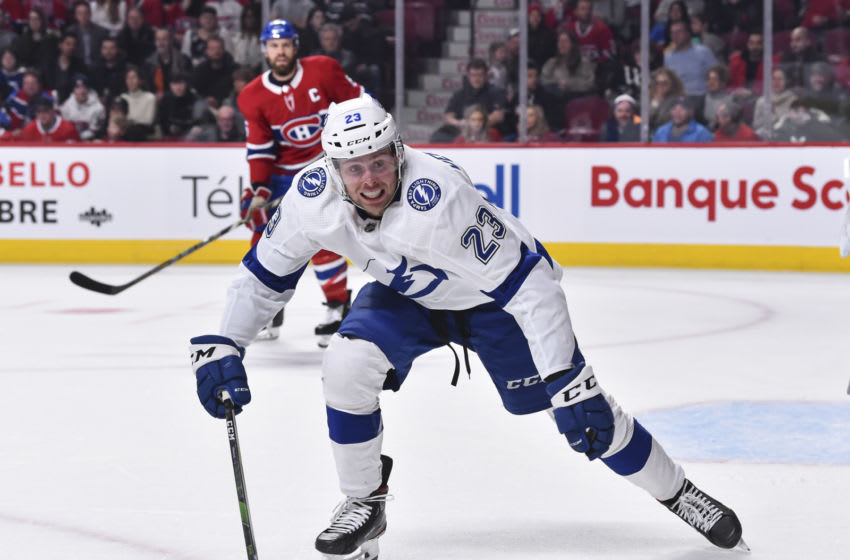 MONTREAL, QC - JANUARY 02: Carter Verhaeghe #23 of the Tampa Bay Lightning skates against the Montreal Canadiens during the first period at the Bell Centre on January 2, 2020 in Montreal, Canada. The Tampa Bay Lightning defeated the Montreal Canadiens 2-1. (Photo by Minas Panagiotakis/Getty Images)