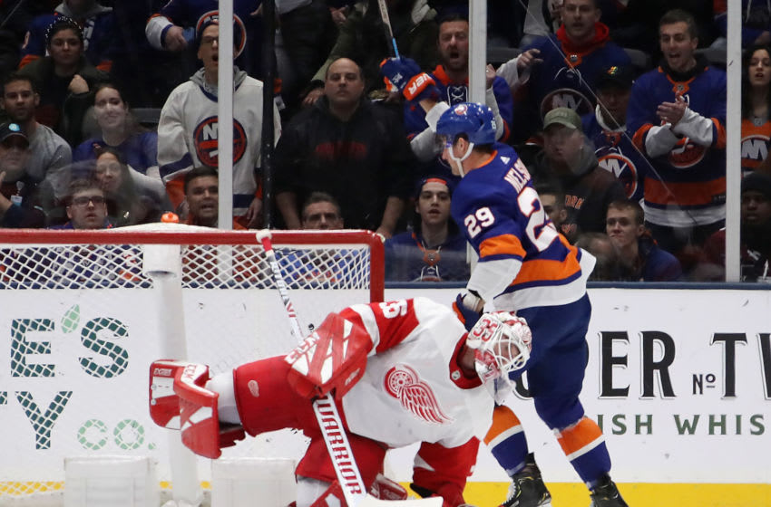 UNIONDALE, NEW YORK - JANUARY 14: Brock Nelson #29 of the New York Islanders scores on Jimmy Howard #35 of the Detroit Red Wings at 7:56 of the first period at NYCB Live's Nassau Coliseum on January 14, 2020 in Uniondale, New York. (Photo by Bruce Bennett/Getty Images)