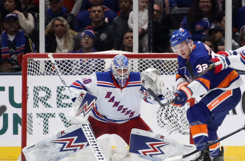 UNIONDALE, NEW YORK - JANUARY 16: Alexandar Georgiev #40 of the New York Rangers tends net against Ross Johnston #32 of the New York Islanders during the first period at NYCB Live's Nassau Coliseum on January 16, 2020 in Uniondale, New York. (Photo by Bruce Bennett/Getty Images)
