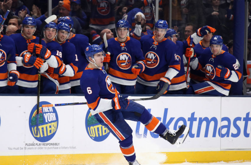 UNIONDALE, NEW YORK - MARCH 07: Ryan Pulock #6 of the New York Islanders celebrates his goal at 5:15 of the second period against the Carolina Hurricanes at NYCB Live's Nassau Coliseum on March 07, 2020 in Uniondale, New York. (Photo by Bruce Bennett/Getty Images)