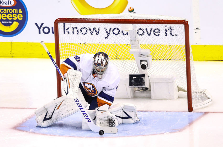 Semyon Varlamov #40 of the New York Islanders (Photo by Elsa/Getty Images)