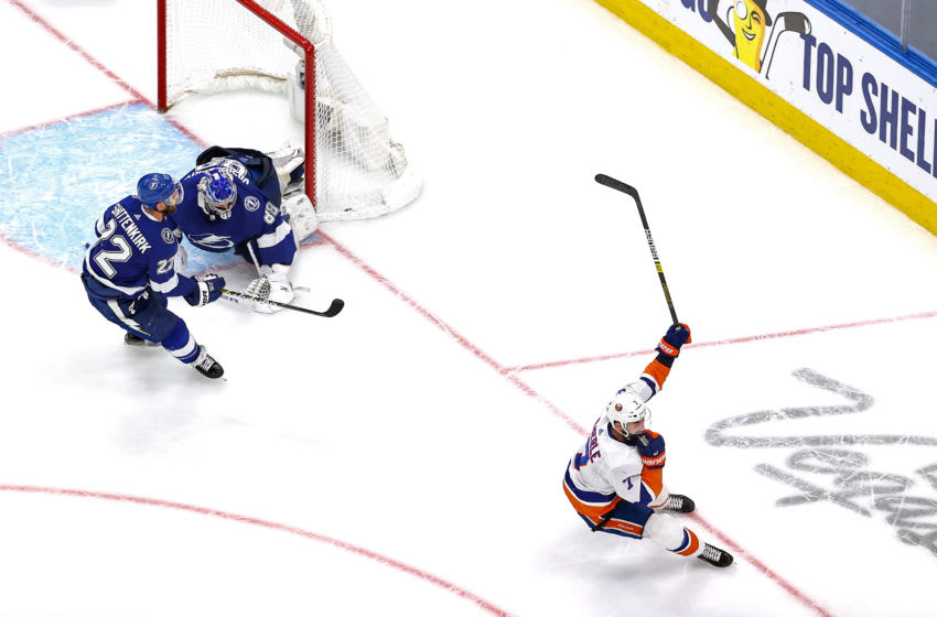 Jordan Eberle #7 of the New York Islanders (Photo by Bruce Bennett/Getty Images)