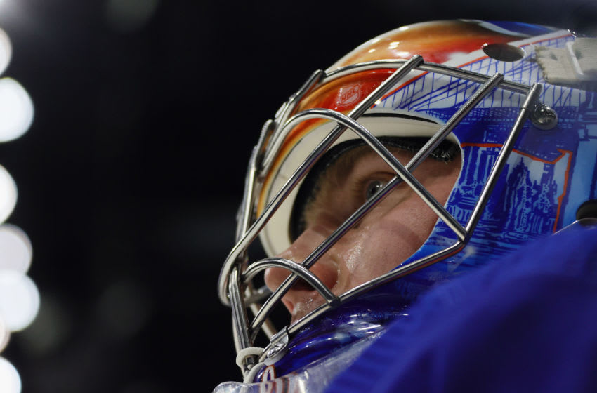 UNIONDALE, NEW YORK - MAY 08: Semyon Varlamov #40 of the New York Islanders skates in warm-ups prior to the game against the New Jersey Devils at the Nassau Coliseum on May 08, 2021 in Uniondale, New York. (Photo by Bruce Bennett/Getty Images)