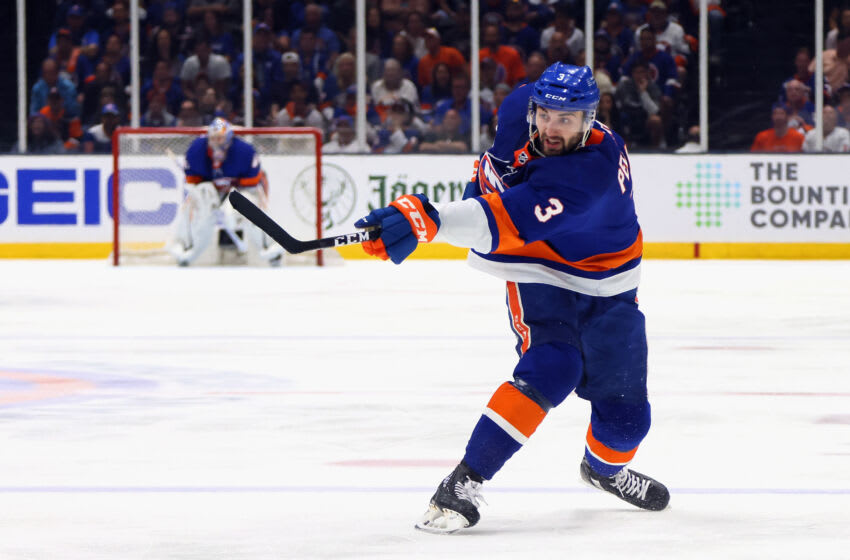 UNIONDALE, NEW YORK - JUNE 09: Adam Pelech #3 of the New York Islanders skates against the Boston Bruins in Game Six of the Second Round of the 2021 NHL Stanley Cup Playoffs at the Nassau Coliseum on June 09, 2021 in Uniondale, New York. The Islanders defeated the Bruins 6-2 to move on to the Stanley Cup Semifinals against the Tampa Bay Lightning. (Photo by Bruce Bennett/Getty Images)