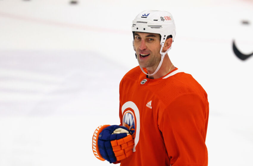 EAST MEADOW, NEW YORK - SEPTEMBER 23: Zdeno Chara #33 of the New York Islanders takes part in practice at the Northwell Health Ice Center at Eisenhower Park on September 23, 2021 in East Meadow, New York. (Photo by Bruce Bennett/Getty Images)