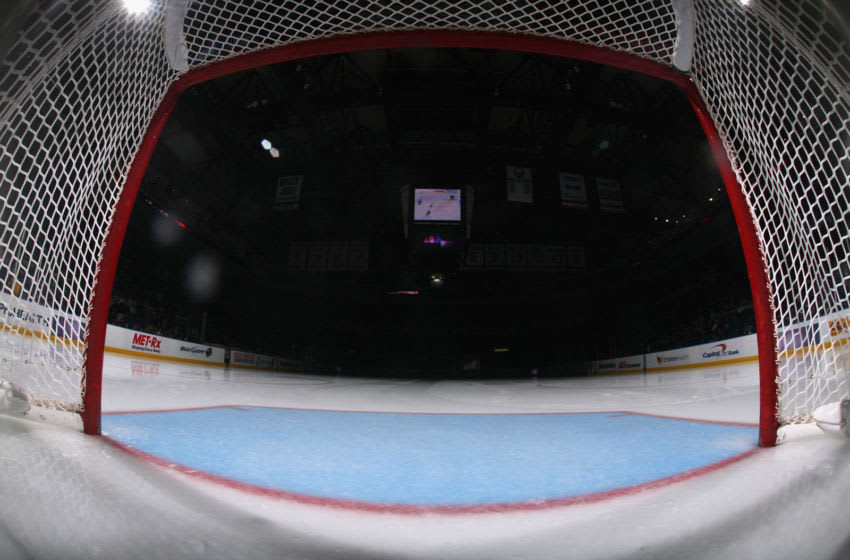 UNIONDALE, NY - DECEMBER 15: An empty net awaits the game between the Dallas Stars and the New York Islanders at the Nassau Veterans Memorial Coliseum on December 15, 2011 in Uniondale, New York. (Photo by Bruce Bennett/Getty Images)