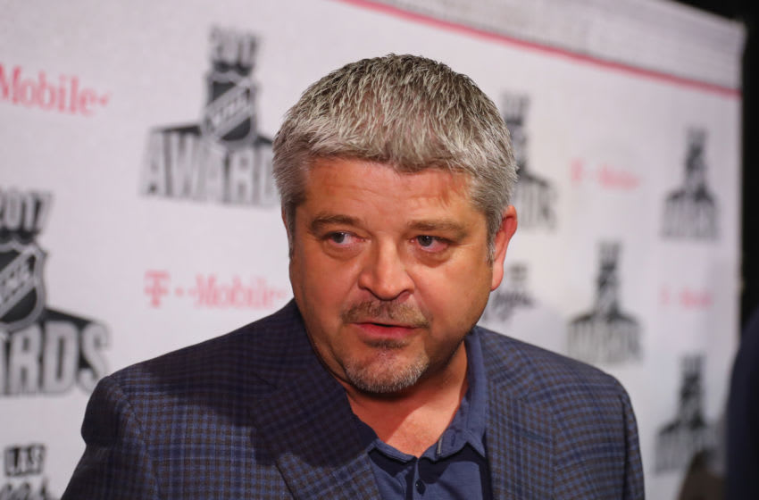 LAS VEGAS, NV - JUNE 20: Head coach Todd McLellan of the Edmonton Oilers is interviewed during media availability for the 2017 NHL Awards at Encore Las Vegas on June 20, 2017 in Las Vegas, Nevada. (Photo by Bruce Bennett/Getty Images)
