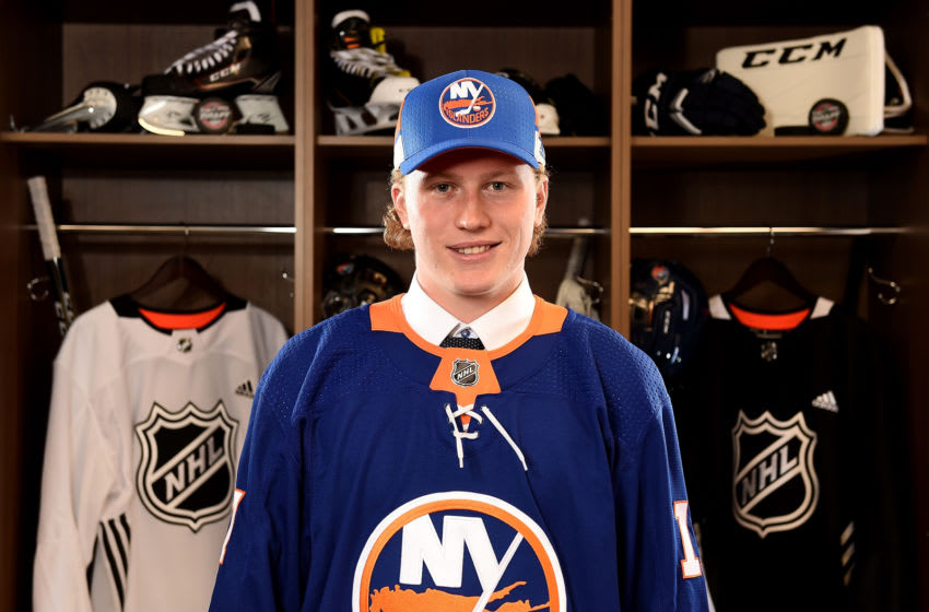 CHICAGO, IL - JUNE 24: Robin Salo poses for a portrait after being selected 46th overall by the New York Islanders during the 2017 NHL Draft at the United Center on June 24, 2017 in Chicago, Illinois. (Photo by Stacy Revere/Getty Images)