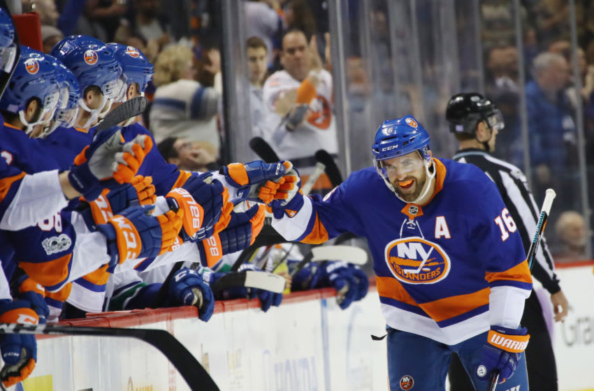 NEW YORK, NY - NOVEMBER 28: Andrew Ladd #16 of the New York Islanders celebrates his shorthanded goal against the Vancouver Canucks at 5:23 of the first period at the Barclays Center on November 28, 2017 in the Brooklyn borough of New York City. (Photo by Bruce Bennett/Getty Images)