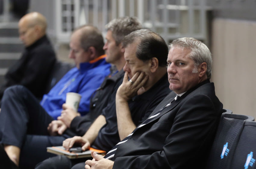 NEW YORK, NY - SEPTEMBER 12: General Manager Garth Snow of the New York Islanders watches the teams first practice at the Barclays Center on September 12, 2013 in Brooklyn borough of New York City. The Islanders are due to move into the building at the start of the 2015-16 season. (Photo by Bruce Bennett/Getty Images)