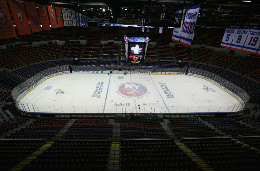UNIONDALE, NY - APRIL 25: A general view of the arena prior to the game between the New York Islanders and the Washington Capitals in Game Six of the Eastern Conference Quarterfinals during the 2015 NHL Stanley Cup Playoffs at the Nassau Veterans Memorial Coliseum on April 25, 2015 in Uniondale, New York. The Islanders defeated the Capitals 3-1. (Photo by Bruce Bennett/Getty Images)