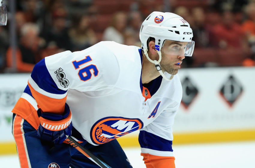 ANAHEIM, CA - OCTOBER 11: Andrew Ladd #16 of the New York Islanders looks on during the third period of a game against the Anaheim Ducks at Honda Center on October 11, 2017 in Anaheim, California. (Photo by Sean M. Haffey/Getty Images)