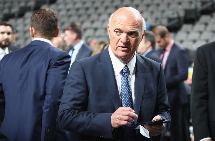 DALLAS, TX - JUNE 22: Lou Lamoriello of the New York Islanders prior to the first round of the 2018 NHL Draft at American Airlines Center on June 22, 2018 in Dallas, Texas. (Photo by Bruce Bennett/Getty Images)