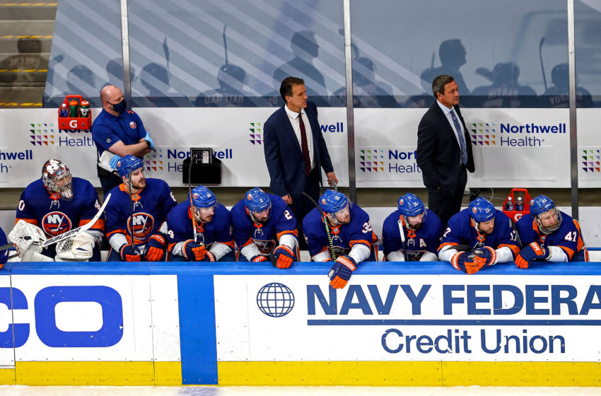 EDMONTON, ALBERTA - SEPTEMBER 13: The New York Islanders react to their late game deficit against the Tampa Bay Lightning during the third period in Game Four of the Eastern Conference Final during the 2020 NHL Stanley Cup Playoffs at Rogers Place on September 13, 2020 in Edmonton, Alberta, Canada. (Photo by Bruce Bennett/Getty Images)