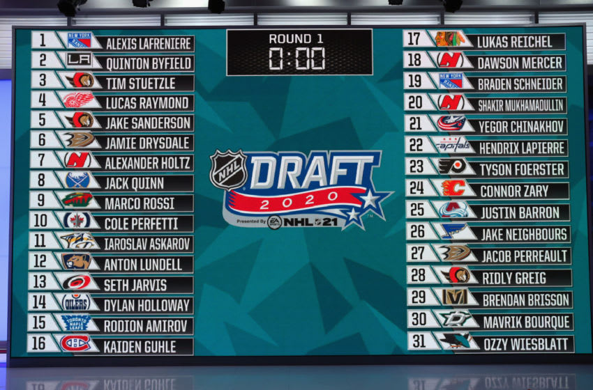 SECAUCUS, NEW JERSEY - OCTOBER 06: A general view of the draft board following the first round of the 2020 National Hockey League (NHL) Draft at the NHL Network Studio on October 06, 2020 in Secaucus, New Jersey. (Photo by Mike Stobe/Getty Images)
