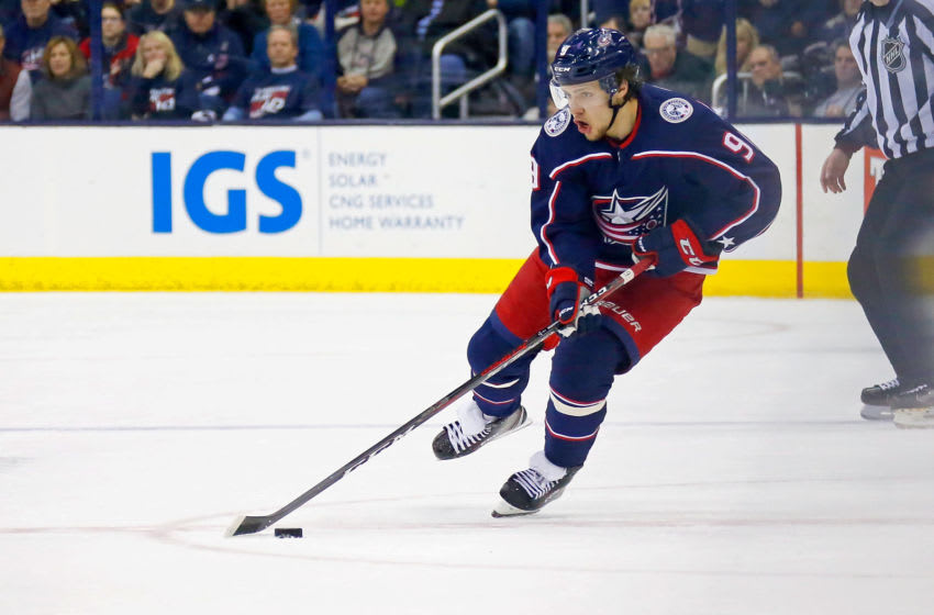 COLUMBUS, OH - APRIL 17: Artemi Panarin #9 of the Columbus Blue Jackets controls the puck in Game Three of the Eastern Conference First Round during the 2018 NHL Stanley Cup Playoffs against the Washington Capitals on April 17, 2018 at Nationwide Arena in Columbus, Ohio. (Photo by Kirk Irwin/Getty Images) *** Local Caption *** Artemi Panarin