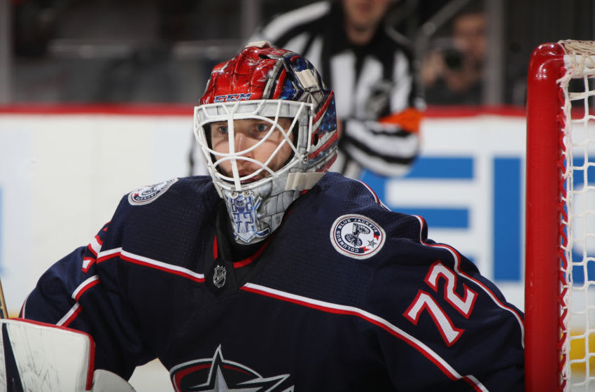 NEWARK, NEW JERSEY - DECEMBER 23: Sergei Bobrovsky #72 of the Columbus Blue Jackets tends net against the New Jersey Devils at the Prudential Center on December 23, 2018 in Newark, New Jersey. The Blue Jackets shutout the Devils 3-0. (Photo by Bruce Bennett/Getty Images)