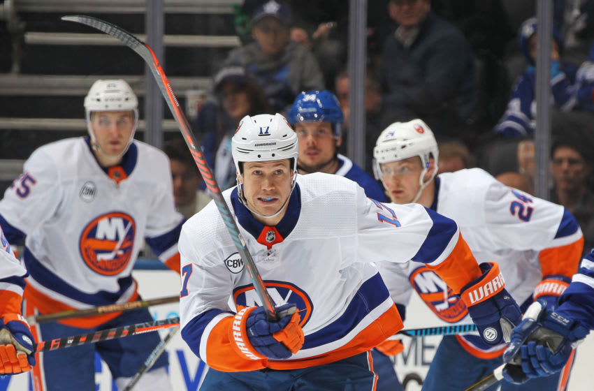 TORONTO, ON - DECEMBER 29: Matt Martin #17 of the New York Islanders skates against the Toronto Maple Leafs during an NHL game at Scotiabank Arena on December 29, 2018 in Toronto, Ontario, Canada. The Islanders defeated the Maple Leafs 4-0.(Photo by Claus Andersen/Getty Images)