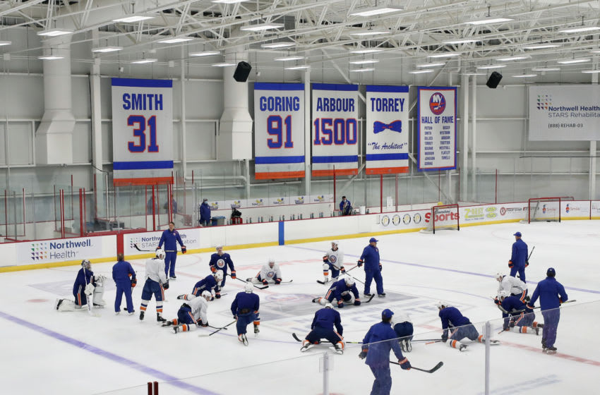 EAST MEADOW, NEW YORK - JULY 13: The New York Islanders skate in practice at the Northwell Health Ice Center on July 13, 2020 in East Meadow, New York. This is the first practice for the team since the NHL paused it's season due to the coronavirus pandemic. (Photo by Bruce Bennett/Getty Images)