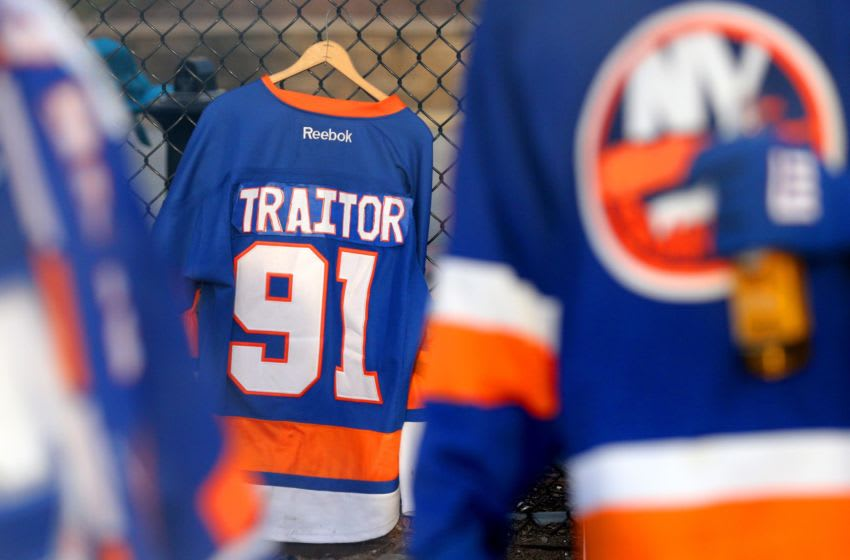 Feb 28, 2019; Brooklyn, NY, USA; New York Islanders fans plan to welcome Toronto Maple Leafs center John Tavares (91) back to the Coliseum as they tailgate before a game at the Nassau Veterans Memorial Coliseum. Mandatory Credit: Brad Penner-USA TODAY Sports